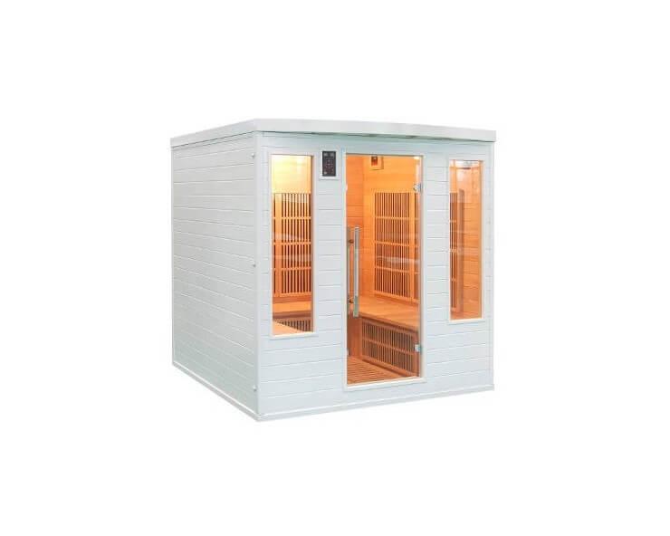 sauna infrarouge angulaire soleil blanc 4 5 places