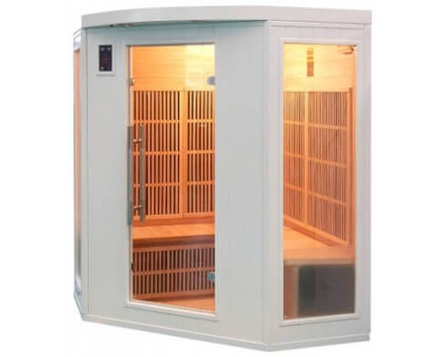 sauna infrarouge angulaire soleil blanc 3 4 places