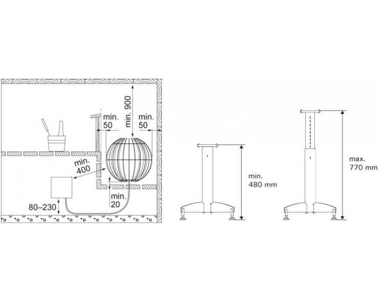 poele sauna harvia globe 6 9 kw