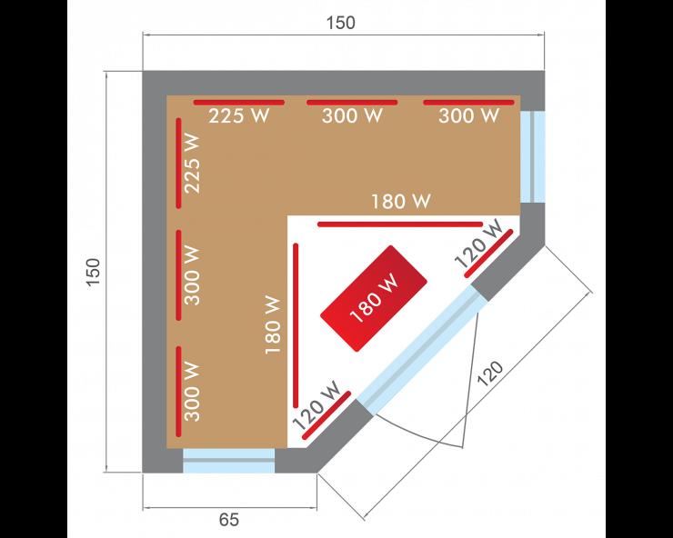 dimensions sauna infrarouge apollon 3 a 4 places