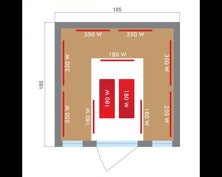 dimensions sauna infrarouge apollon family