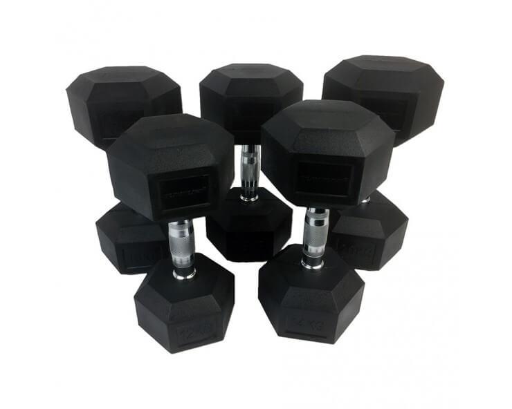 Set (Pack) 5 paires d'haltères hex (12 à 20kg) Tunturi