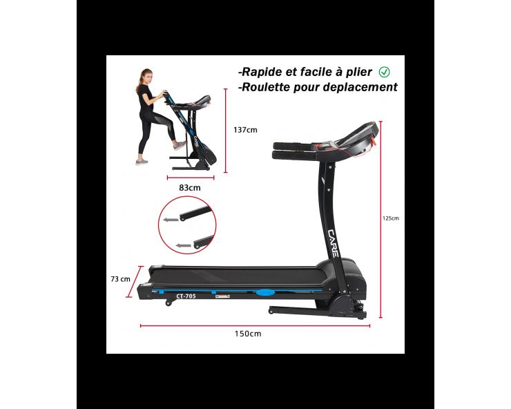 tapis de course pliable care fitness CT705