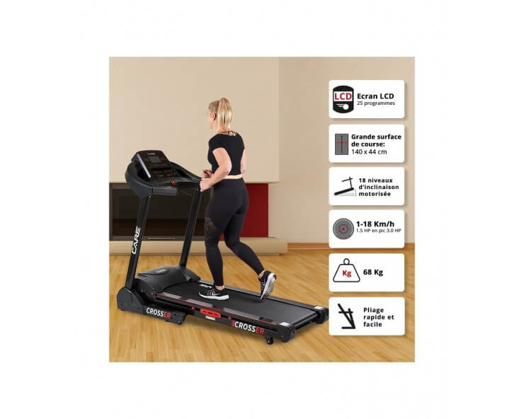 tapis de course pliable crosser care fitness