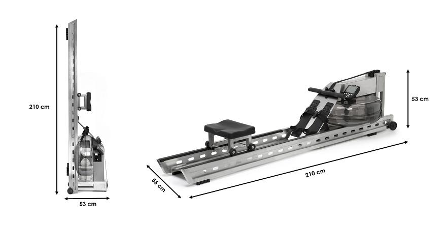 Rameur Waterrower S1 en acier brossé Moniteur S4
