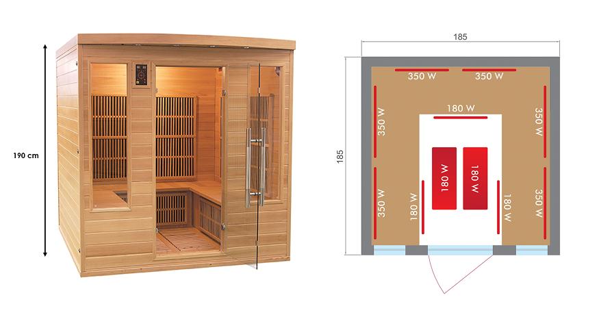 Sauna Infrarouge Apollon Family 4 à 5 places