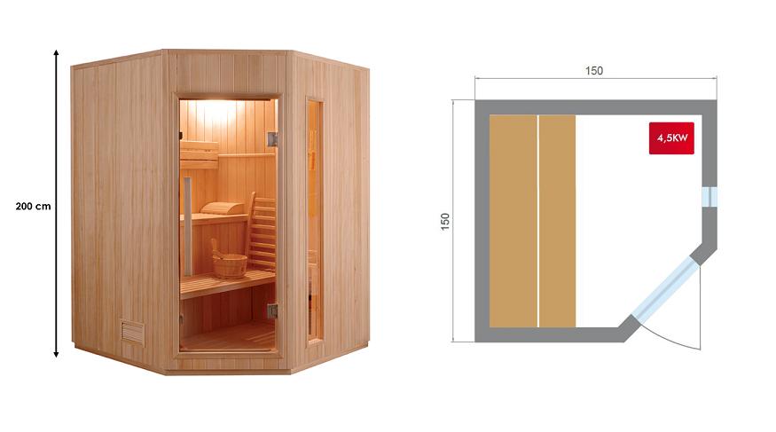 Sauna vapeur Zen Angulaire 3 à 4
