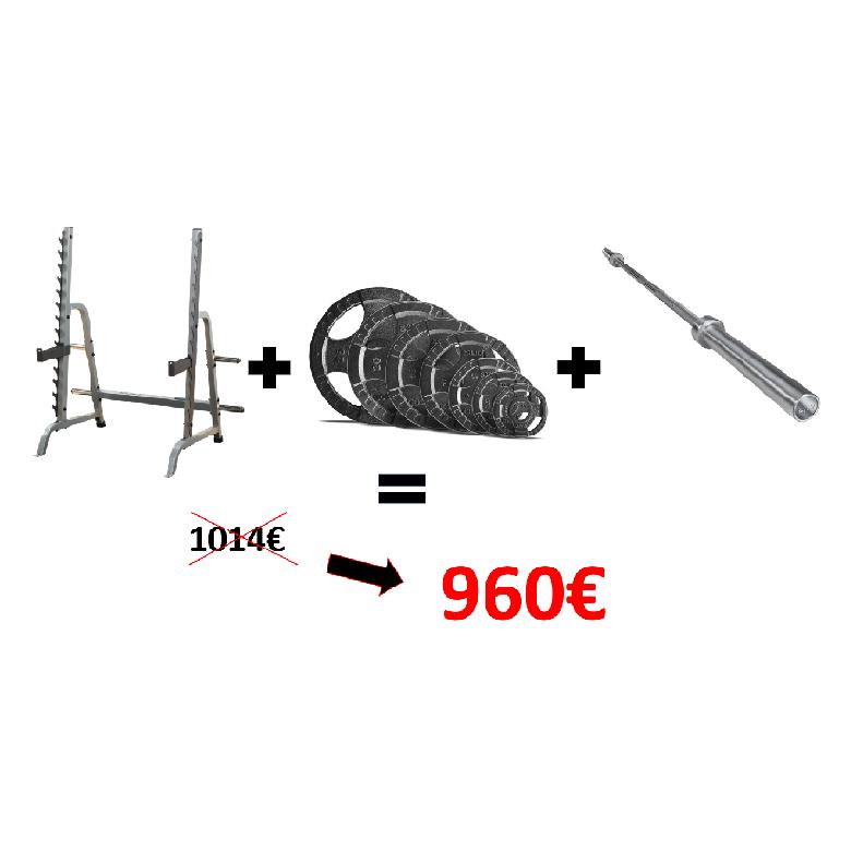 Pack Squat BODY SOLID (Rack GPR370+Barre OLSPB220+Poids 60kg)